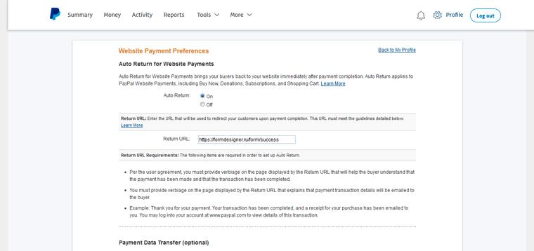 Return URL Paypal